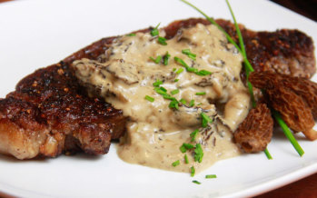 A Foodie is Born: Recipe for Pepper Crusted New York Strips with Cognac Morel Cream Sauce